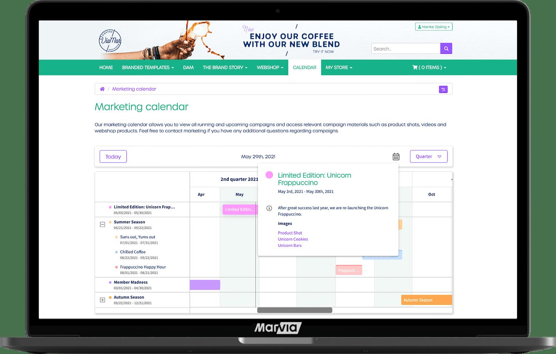 marketing calendar marvia