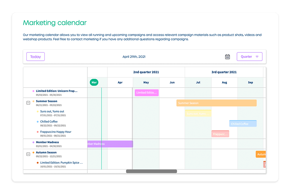 flexible marketing calendar